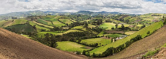 Panoramic view of the fields seen from the location of Julio Andrade, Carchi Province, Ecuador.
