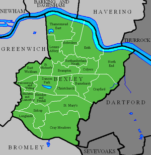 London Borough of Bexley - The 21 wards of the London Borough of Bexley (green) and surrounding London boroughs (light grey) and other districts (dark grey)
