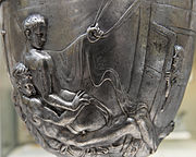 Homosexual anal sex was known in ancient Greek and Roman societies, here depicted between Roman males on the Warren Cup.