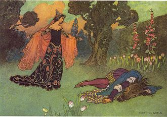 Youngest son - Illustration by Warwick Goble to Beauty and the Beast:  the heroine is the youngest daughter in her family.