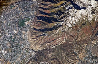 Traverse Mountains - Image: Wasatch Mtns ISS011 E 13889