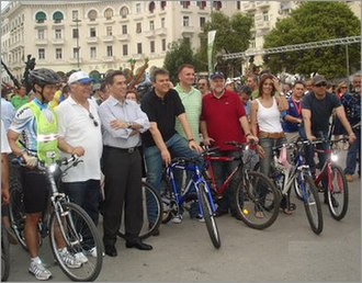World Environment Day - US Consul CG Yee, along with the Mayor of Thessaloniki Vassilis Papageorgopoulos, the Prefect of Thessaloniki Panagiotis Psomiadis, and many others participating in World Environment Day on the waterfront, Bike Path