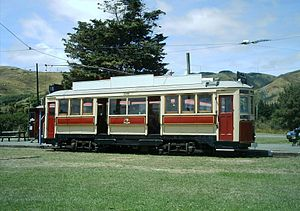 Wellington Tramway Museum - Wellington electric double-saloon tram car 159 at the Wellington Tramway Museum