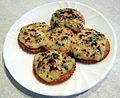 Welsh rarebit on crackers.jpg