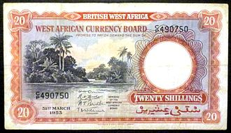 British West African pound - A 1953 20 shilling note of the West African Currency Board.