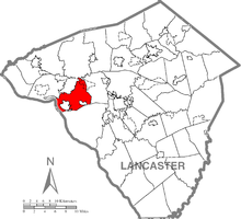 Map of Lancaster County, Pennsylvania highlighting West Hempfield Township