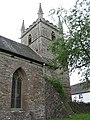 West tower and buttress, All Saints Church, Longhope - geograph.org.uk - 487155.jpg