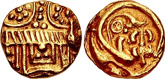 Western Chalukya Empire - Western Chalukyas of Kalyana, coin of King Somesvara I Trailokyamalla (1043-1068). Temple façade / Ornate floral ornament.