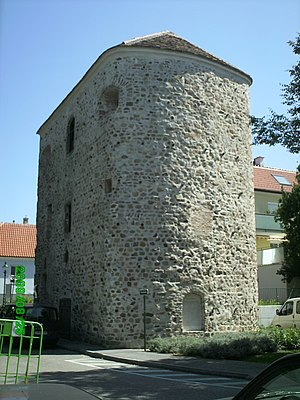 Danubian Limes - The Salz Tower (Salzturm) in Tulln, Lower Austria, the former western horseshoe tower (Hufeisenturm) at Comagena