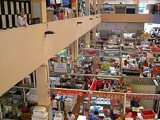 Tekka Centre - Interior of Tekka Market showing both the ground and second levels, selling food and goods respectively