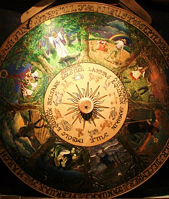 Painted Wheel of the Year at the Museum of Witchcraft, Boscastle, Cornwall, displaying all eight of the Sabbats Wheel of the Year.JPG