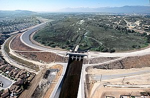 Whittier Narrows - Aerial view of Whittier Narrows Dam from downstream looking upstream through the gap.