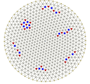 Wigner crystal - Structure of a two-dimensional Wigner crystal in a parabolic potential trap with 600 electrons. Triangles and squares mark positions of the topological defects.