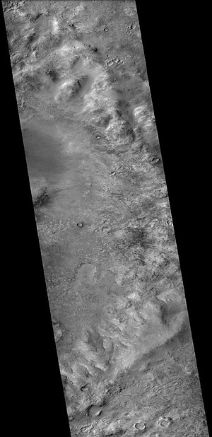 Helmholtz (Martian crater) - East side of Helmholtz Crater, as seen by CTX camera (on Mars Reconnaissance Orbiter).