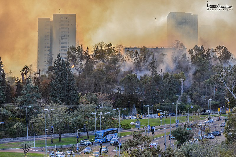 קובץ:Wildfire in Haifa, November 2016.jpg