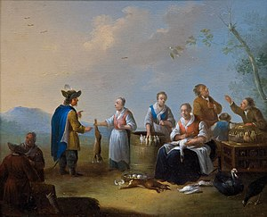 Farmers' market - Auf dem Vogelmarkt (women offering hares and wild birds), 18th-19th century