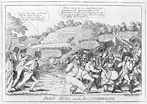 Battle of North Point - Political cartoon JOHN BULL and the BALTIMOREANS (1814) by William Charles, praising the stiff resistance in Baltimore, and satirizing the British retreat