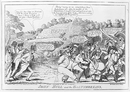 Political cartoon JOHN BULL and the BALTIMOREANS (1814) by William Charles, praising the stiff resistance in Baltimore, and satirizing the British retreat WilliamCharlesJohnBullAndTheBaltimoreans.jpg