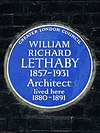 William Richard Lethaby 1857-1931 architect lived here 1880-1891.jpg