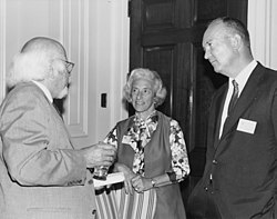 William Shirer (Left), Barbara Tuchman (Center), and John Eisenhower at the Conference on Research and World War II and the National Archives, June 14-15, 1971.jpg