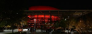 AT&T Performing Arts Center - The Winspear Opera House seen at night.