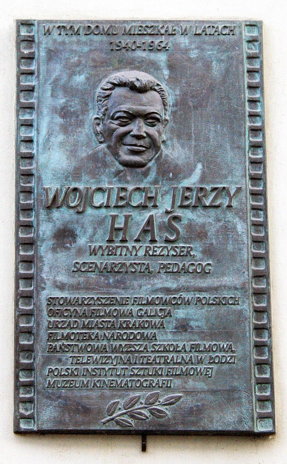 Wojciech Jerzy Has (Polish film director, screenwriter and film producer) commemorative plaque, 19 sw. Gertrudy street, Stradom, Krakow, Poland