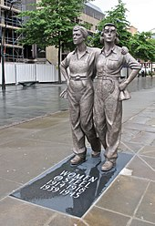 Photo of the statue Women of Steel at barker's Pool, Sheffield