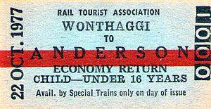 Wonthaggi railway line - Wonthaggi-Anderson rail ticket 1977