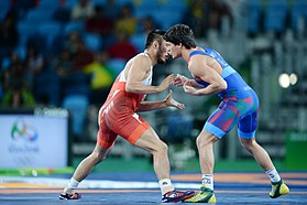Wrestling at the 2016 Summer Olympics, Chunayev vs Ryu Han-su 2.jpg