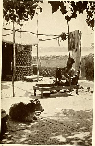 Bed of nails - A Hindu Yogi on a bed of spikes, 1913