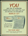 YOU ARE ONE OF 50,000,000 AMERICANS WHO MUST FILL OUT AN INCOME TAX RETURN BY MARCH 15. FILE YOURS EARLY. - NARA - 516201.tif