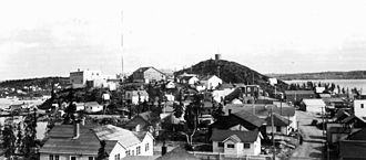 Yellowknife - View of mid-20th century Yellowknife. The community was incorporated as a municipality in 1953.