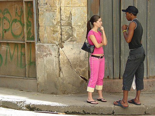 Young Woman and Man on the Street - Centro Habana - Havana - Cuba