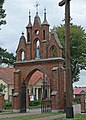 Zespół kościoła (1912-1913) kościół p.w. Przemienienia Pańskiego (brama tył) - Malowa Góra gmina Zalesie powiat bialski woj. lubelskie ArPiCh A-194.JPG