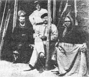Bali, Cameroon - German explorer Eugen Zintgraff and Galega I, fon of Bali, Cameroon.