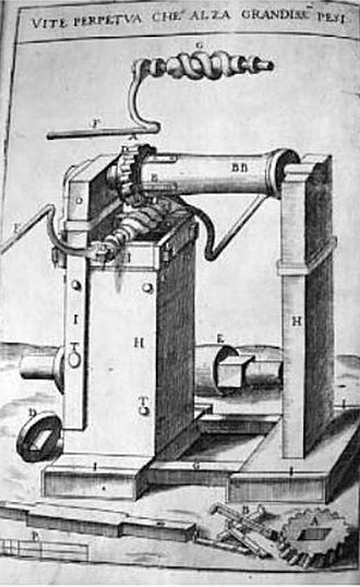 Vittorio Zonca - Endless screw and winch, in Zonca's treatise of 1607