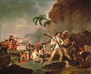 Death of Cook - Image: 'Death of Captain James Cook', oil on canvas by George Carter, 1783