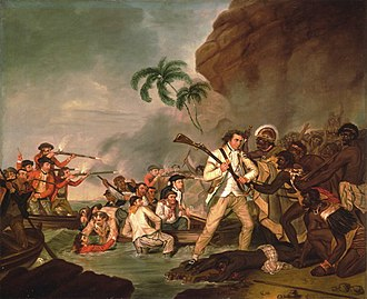 George Carter (artist) - Death of Captain James Cook, 1783, now at the Bernice P. Bishop Museum in Hawaii.