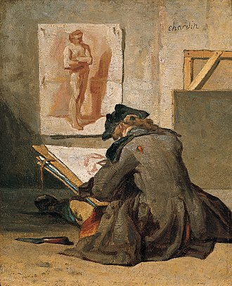 Figure drawing - Image: 'Young Student Drawing', oil on panel by Jean Siméon Chardin, c. 1738, Kimbell Art Museum