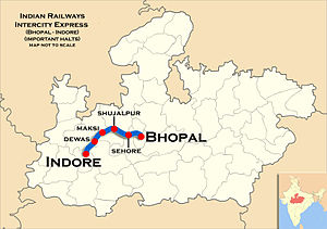 (Indore–Bhopal) Intercity Express Route map