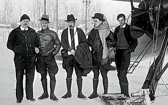 SS Chelyuskin - Georgy Ushakov (centre) in Alaska during the expedition to rescue the crew of SS Chelyuskin.