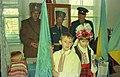 Представники 5 класу отримують від козаків загоновий прапор.jpg