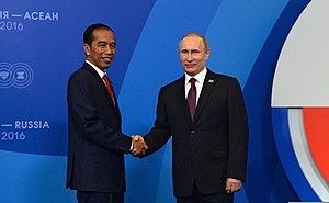 Indonesia–Russia relations - President of Indonesia Joko Widodo with President Vladimir Putin 20 May 2016.