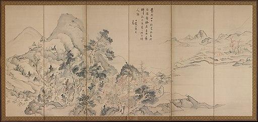 蘭亭曲水図屏風. 秋社図屏風-Orchid Pavilion Gathering; Autumn Landscape MET DP362635