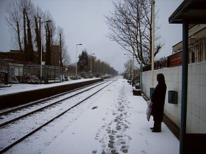 Pannal railway station - The station in the snow.