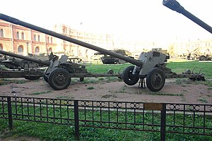 T-12 antitank gun - T-12 displayed in the Artillery Museum in Saint Petersburg, Russia.