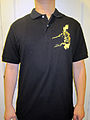 100 percent Pinoy black polo shirt with map of PI on left breast.JPG