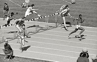 Athletics at the 1968 Summer Olympics – Men's 110 metres hurdles - Last meters of the first semi-final. Eddy Ottoz, number 515, finishes second; the other racers, from the left, Juan Morales, Pierre Schoebel, Daniel Riedo, Hinrich John, Bo Forssander and the winner, Ervin Hall.