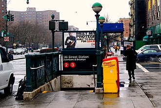116th Street (IRT Lenox Avenue Line) - Southbound staircase on the northwest corner