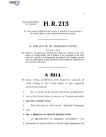116th United States Congress H. R. 0000213 (1st session) - Baseball Diplomacy Act.pdf